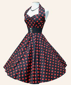 rockabilly clothes | Rockabilly Dress Black With Red Dots