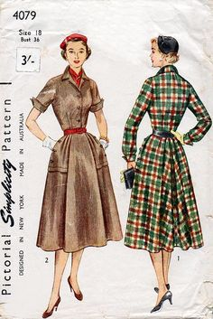 Early 1950s Shirtwaist Dress Pattern Simplicity 4079 Vintage Sewing Pattern Full Skirted Day Dress with Wing Cuffs Bust 36