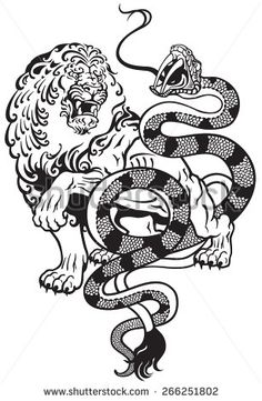 lion and snake tattoo