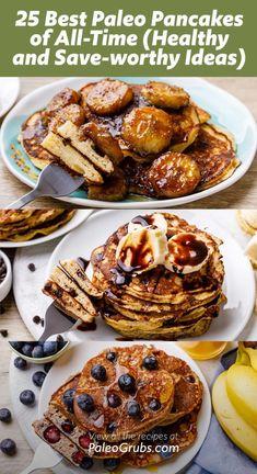 25 Best Paleo Pancakes of All-Time - Banana, Pumpkin, Coconut Flour + More Paleo Pumpkin Pancakes, Coconut Flour Pancakes, Vegan Pancakes, Egg Free Recipes, Paleo Recipes, Paleo Sweet Potato, Chocolate Chip Pancakes, How To Eat Paleo, Paleo Breakfast