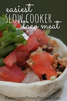This is the easiest slow cooker/crockpot taco meat recipe you will ever find. This ground beef recipe is perfect for taco bar night! Using only 6 ingredients, this homemade taco meat will please even the pickiest eater.