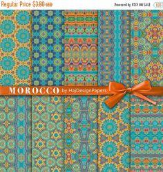 "SALE Oriental digital paper : "" Morocco "", Moroccan digital paper for scrapbooking, decoupage, invitations, blue and gold digital paper, ele"