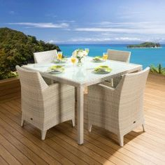 Rattan Garden 4 Seater Dining Set Square Table Carver Chairs Stone Grey Images