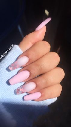 Acrylic Nails Coffin Pink, Square Acrylic Nails, Simple Acrylic Nails, Summer Acrylic Nails, Summer Nails, Acrylic Nail Designs, Acrylic Nails Coffin Ombre, Nail Designs Bling, Colored Acrylic Nails