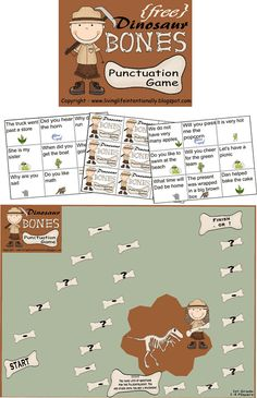 FREE Dinosaur Bones Punctuation Game - A fun way for kids to practice punctuation for Kindergarten, grade, and grade kids FREE Dinosaur Bones Punctuation Game - A fun way for kids to practice punctuation for Kindergarten, grade, and grade kids Dinosaur Games, Dinosaur Activities, Reading Activities, Literacy Activities, Educational Activities, Kindergarten Themes, Dinosaur Crafts, Reading Groups, Punctuation Activities