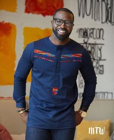 African all blue African clothing African men's wear African Male Suits, African Wear Styles For Men, African Shirts For Men, African Dresses Men, African Attire For Men, African Clothing For Men, African Style, Nigerian Men Fashion, African Men Fashion