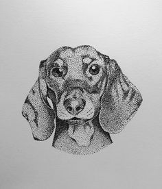Stippling Art, Fineliner Art, Dots Art, Dotted Drawings, Pointalism Art, Animal Art, Ink Art, Illustration Art Drawing, Dog Drawing