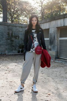 #NIKE #white_sneaker #racing_jacket #sweat_pants #active_style # 2014-2015AW #bordeaux