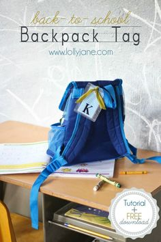 Back-to-School FREE downloadable backpack tags