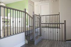 Couleur de plancher et rampe d'escalier en fer forgé.