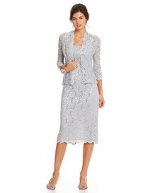 Alex Evenings Petite Sequined Lace Jacket Dress..look sophisticated in this mother of the bride lace ensemble available at Dillards it's new for spring 2016. This can go for daytime affairs or black tie evening lace is hot right now and you'll fit right in.