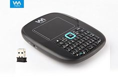 Viaplay Via-Remote H1 Mini RF 2.4GHz Wireless keyboard with Touchpad Mouse Smart Remote Controller for Android TV, Tablet, Smart TV, Windows PC, Google TV, HTPC, Mac - Black