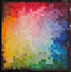 Pixelated Color Wheel by Kati Spencer, photo by The Plaid Portico.  Modern Quilt Guild exhibit, Houston 2012