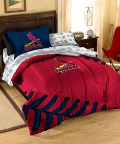 St. Louis Cardinals Bedding - I know that I have pinned this under this particular 'boy rooms' board, but I am telling you that my husband would LOVE to have this set!!!! They also have other MLB teams. cardin nation, baseball, basebal bedroom, bed set, st louis cardinals, bedroom kids, washington nationals, bedding sets, boy room