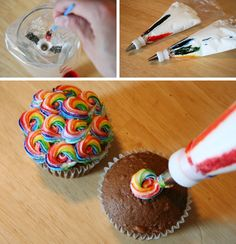 "Rainbow Swirl: paint food coloring inside bag, then fill with icing. It will ""stripe"" the icing as it squeezes out - try it in any color combo!"