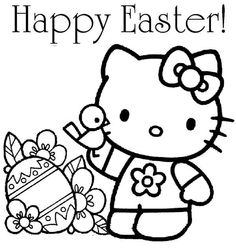 HELLO KITTY COLORING PAGES FOR EASTER  Easter colouring pages