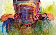 Watercolor painting of an old abandoned truck.  GRANDPA'S TROPHY by Mary Shepard. Painted with bright, colorful hues in transparent watercolor on 22 x 30 Arches paper. www.maryshepard.com