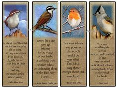 Printable Bird Bookmarks Paintings of Birds by FreshAirPrintables, $5.00