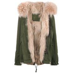 Mr & Mrs Italy Short Khaki Pink Fur Lined Parka ($4,076) ❤ liked on Polyvore featuring outerwear, coats, cotton coat, khaki parkas, cotton parka, parka coats and short parka coat
