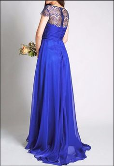 Royal Blue With Cap Sleeves Lace Chiffon A-line Wedding Party Long Bridesmaid Dress