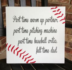 Custom Wood Sign - Baseball Dad- Hand Painted Typography Word Art Home Wall Decor. Golf Gift Ideas For Her Baseball Crafts, Baseball Quotes, Baseball Mom, Baseball Pitching, Baseball Stuff, Golf Gifts For Men, Daddy Day, Custom Wood Signs, Wooden Signs