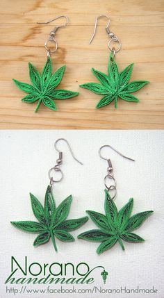 Quilled Earrings - Marijuana Leaves by norano-handmade on DeviantArt Paper Quilling Earrings, Quilling Work, Paper Quilling Patterns, Quilling Paper Craft, Quilling Ideas, Quilling Tutorial, Paper Jewelry, Paper Beads, Quilled Creations