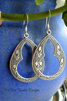 Sterling silver hoop earrings. Moroccan, bohemian, indie jewelry.
