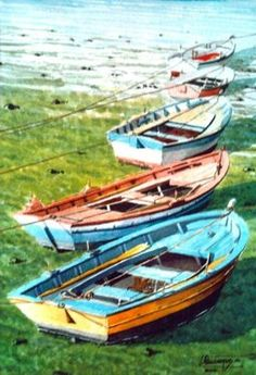 Barcas varadas(La barca, Ferrol), 2004, 50x35 cm.