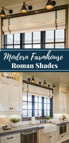 This listing is for custom shades where you can pick your fabric or select from one of our in-stock fabrics. #ad #kitchen #kitchencurtains #romanshades