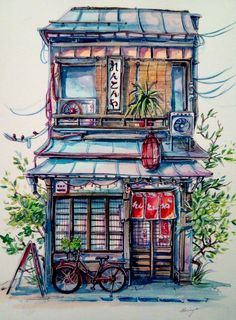 Frontstore by doringota doringota's artwork in 2019 акварель Japon Illustration, Building Illustration, Watercolor Illustration, Watercolor Paintings, Watercolor Sketch, Art Paintings, Japanese Watercolor, Japanese Art, Art Sketches