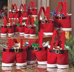 Christmas candy bags Santa Claus suspenders shorts pants gifts bag Party Favours #brandnew