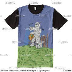 Trick or Treat Cute Cartoon Mummy Halloween All-Over Print T-shirt