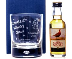 Engraved CHRISTMAS WHISKY DESIGN Whisky Glass & Miniature