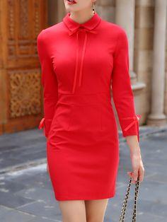 #AdoreWe OUSHANG Red Sheath Solid 3/4 Sleeve Bow Mini Dress - AdoreWe.com