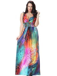 Plus Size Color Block V Neck Women s Maxi Dress. Women Summer Holiday Beach  Dress Plus Size Printed Long Maxi Dress Elbise Robe Ete Jurk ... 9e254e2e817e