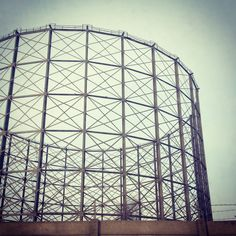 Gas tower. Structure in silhouette. (C) Mash  Media UK Ltd