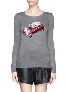 MARKUS LUPFER - 'British Mini Car' sequin Emma sweater | Grey Sweater Knitwear | Womenswear