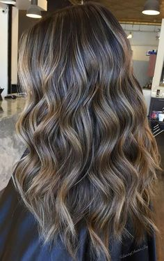 Long Wavy Ash-Brown Balayage - 20 Light Brown Hair Color Ideas for Your New Look - The Trending Hairstyle Blonde Balayage Highlights, Balayage Hair, Babylights Brunette, Highlights On Dark Hair, Highlighted Hair For Brunettes, Bayalage Caramel, Partial Balayage Brunettes, Balyage Long Hair, New Hair