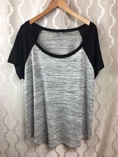 Torrid Womens Plus size 2 (2X) 18/20 Black Gray Space Dye Baseball raglan Shirt #Torrid #KnitTop