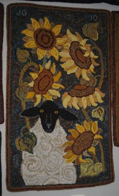 Sheep in Sunflowers by Woodcrest Rug Designs