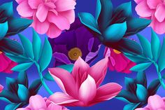 Check out Tropical flowers and leaves by mystel on Creative Market