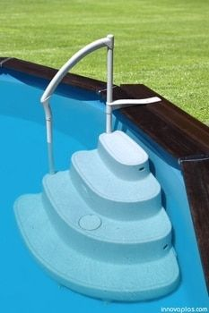 Majestic Above Ground Pool Steps. Make getting into & out of your pool this season easier & safer with the Majestic Above Ground Pool Step. These rugged steps feature. Above Ground Pool Stairs, Best Above Ground Pool, Above Ground Swimming Pools, In Ground Pools, Patio Plan, Pool Deck Plans, Stock Pools, Stock Tank Pool, Piscine Simple