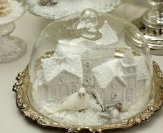 Shabby Sweet Cottage: A Little Christmas Here and There. You could pick these little villages up at Dollar Store, paint white, glitter, display everywhere! Silver Christmas, Victorian Christmas, Little Christmas, All Things Christmas, Christmas Home, Vintage Christmas, Christmas Holidays, Christmas Decorations, Navidad Diy