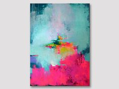 Original large abstract painting, abstract art, modern textured painting, bold colors, fuchsia pink turquoise acrylic on stretched canvas