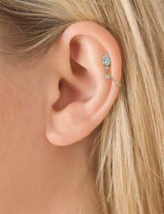 Opal and Diamond Tiara 1 Chain Wrap Traditional Ear Post (Helix) | Helix Jewelry