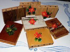7 MCM Kitsch Craft VINTAGE TILE 8 DRAWER MATCHBOX HOLDER Poinsettia Flowers GIFT