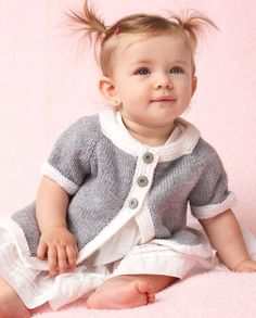 Free Knitting Pattern for Baby Top Down Cardigan - Knit in one piece. Sizes 6, 12, 18, 24 months. From Bernat.