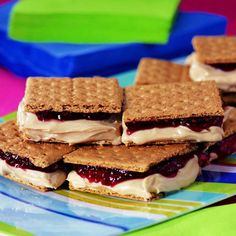 PB and J Ice Cream Sandwiches!    1 pint vanilla ice cream  1/2 cup peanut butter  9 full size grahams  1/4 cup jam or jelly    Mix PB and Ice cream.  Assemble.  Freeze.  Eat.