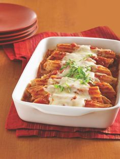 "Betty member DawnRD says, ""This has become an easy, tasty, family-favorite recipe."" Garlicky chicken, tender pasta, tomato sauce and gooey mozzarella cheese—what's not to love? No wonder the recipe has been shared so much!"