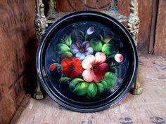 Toleware Tray, Russian Tray, Folk Art Tray, Russian Folk Art, Black Tray, Enamel…